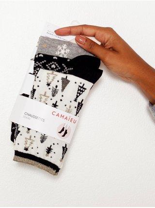 Sada troch párov ponožiek v bielej a čiernej farbe s vianočným motívom CAMAIEU