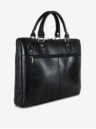 Tmavomodrá pánska kožená taška KARA