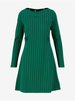 Zelené dámské vzorované šaty Blutsgeschwister Mod a lula - green zig zag