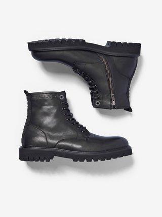 Černé pánské kožené kotníkové boty Pepe Jeans Trucker