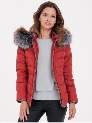 Červená dámska prešívaná bunda s pravou kožušinou KARA