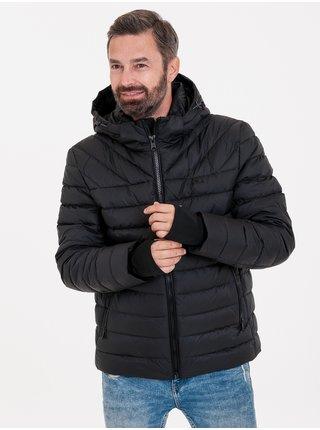 Čierna pánska zimná prešívaná bunda KARA