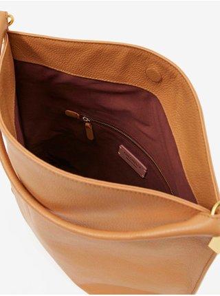 Světle hnědá kožená crossbody kabelka Coccinelle Estelle