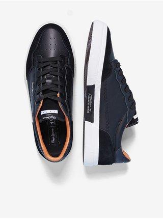 Černé pánské tenisky s koženými detaily Pepe Jeans Kenton