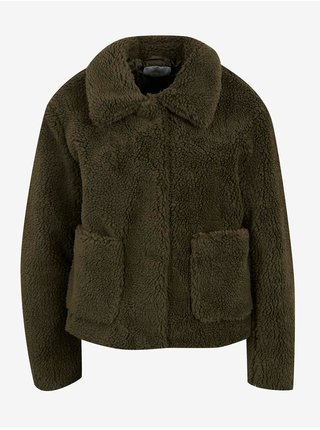 Khaki bunda z umělého kožísku Jacqueline de Yong Dancer Teddy