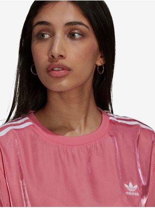 Růžové dámské saténové šaty adidas Originals