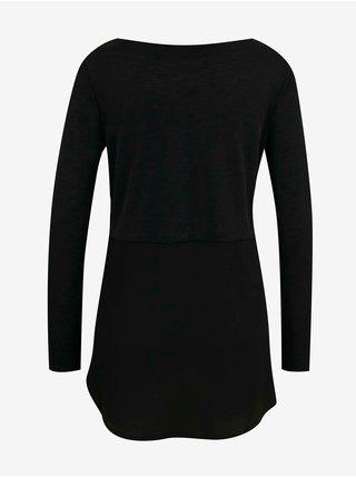 Černé tričko s prodlouženou zadní částí CAMAIEU
