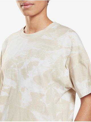 Béžové dámske vzorované tričko Reebok MYT AOP Tie Dye Tee