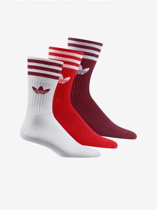 Sada troch unisex ponožiek vo vínovej, červenej a bielej farbe adidas Originals Solid