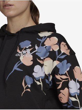 Černá dámská mikina s květovaným vzorem adidas Performance Floral Hoodie