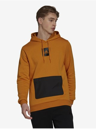 Čierno-oranžová pánska mikina adidas Performance Q4 Fleece HD