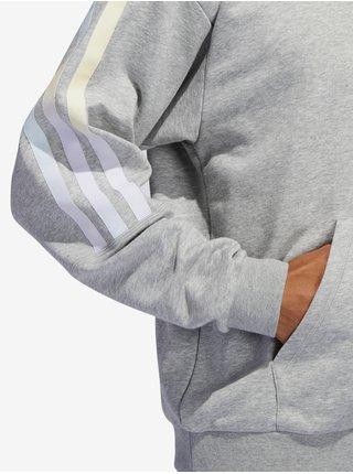 Svetlošedá pánska mikina s kapucou adidas Performance Hoodie