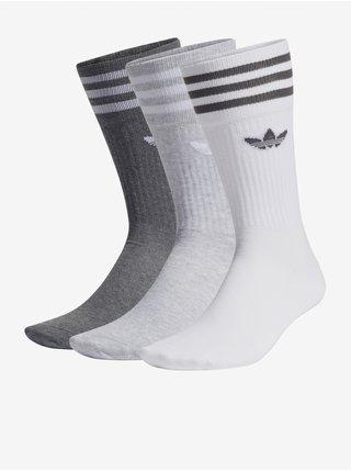 Sada troch unisex ponožiek v bielej, šedej a tmavošedej farbe adidas Originals Solid Crew Sock