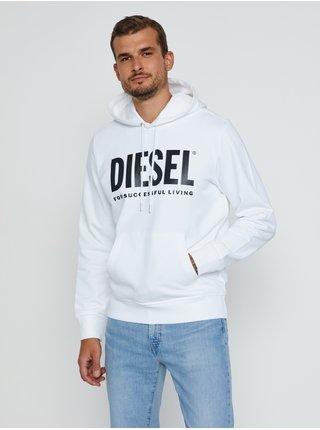 Mikiny s kapucou pre mužov Diesel - biela