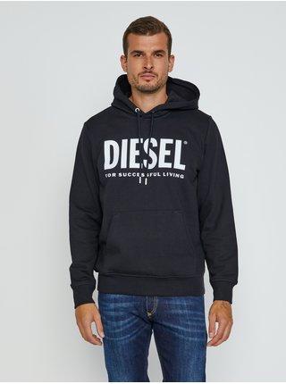 Mikiny s kapucou pre mužov Diesel - čierna