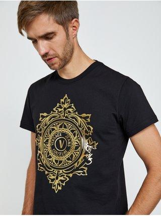 Čierne pánske tričko s potlačou Versace Jeans Couture S Vemblem Leaf