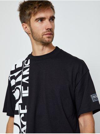 Bielo-čierne pánske tričko s potlačou Versace Jeans Couture O Logo Story