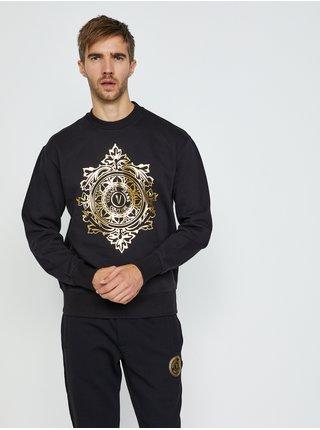 Čierna pánska mikina s potlačou Versace Jeans Couture R Vemblem Leaf