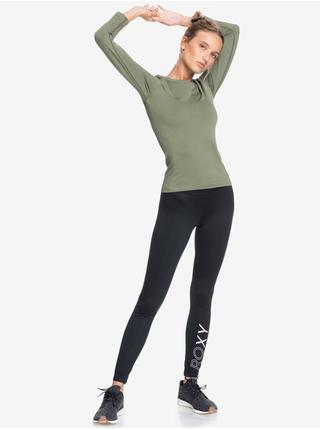 Kaki športové tričko s dlhým rukávom Roxy