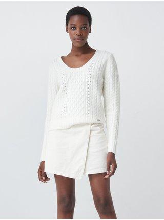 Bílý dámský svetr s ozdobnými korálky Salsa Jeans