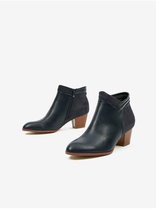 Černé kotníkové boty s detaily v semišové úpravě CAMAIEU
