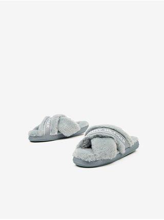 Světle šedé dámské domácí pantofle s umělým kožíškem Tommy Hilfiger