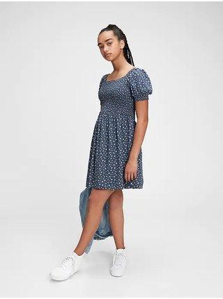 Dívky - Dětské šaty teen floral smocked dress Modrá