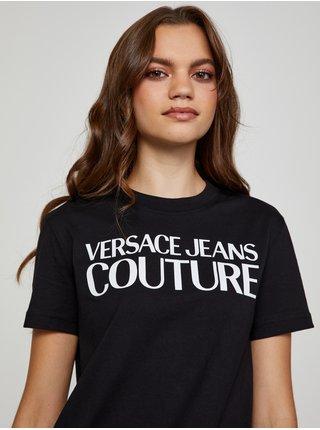 Bílo-černé dámské tričko s potiskem Versace Jeans Couture R Logo Rubber
