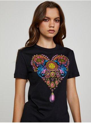Černé dámské tričko s potiskem Versace Jeans Couture S Valentine