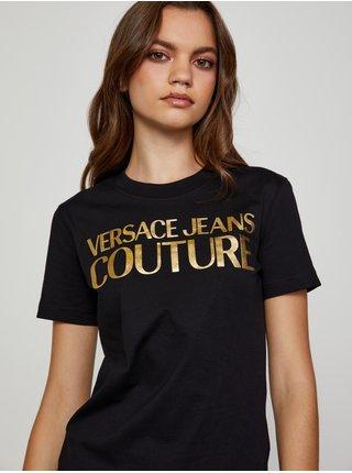 Zlato-černé dámské tričko Versace Jeans Couture S Logo Foil