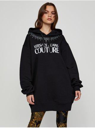 Bílo-černá dámská volná mikina s kapucí Versace Jeans Couture Crystal