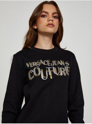 Černá dámská mikina s potiskem Versace Jeans Couture R Logo Glitter