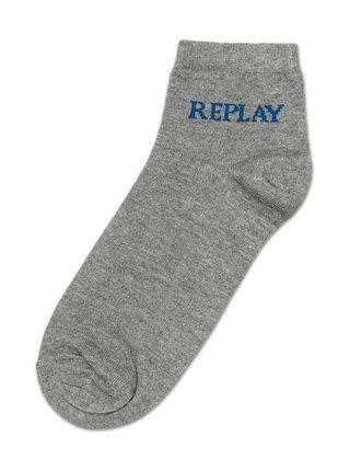 Ponožky Low Cut Basic Leg Logo 3Prs Card Wrap - Grey Mel./Logo Ass C Replay