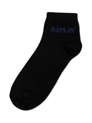 Ponožky Low Cut Basic Leg Logo 3Prs Card Wrap - Black/Logo Ass Colour Replay