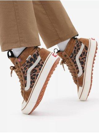 Bílo-hnědé dámské kotníkové semišové boty se zvířecím vzorem VANS SK8-Hi