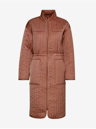 Tehlový dámsky zimný kabát ICHI