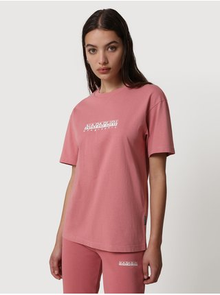 Růžové dámské tričko s nápisem NAPAPIJRI S-box W SS 3
