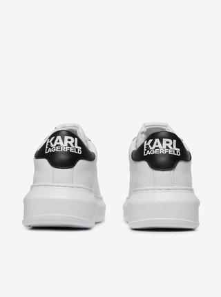 Bílé dámské kožené tenisky na platformě KARL LAGERFELD Kapri Karl Ikonic Lo Lace
