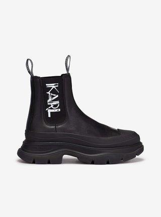 Černé dámské kotníkové kožené boty na platformě KARL LAGERFELD Luna Art Deco Gore Boot