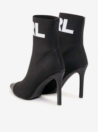Čierne dámske členkové kožené topánky na podpätku KARL LAGERFELD Pandora Hi Knit Collar Ankle BT
