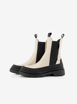 Černo-krémové dámské kotníkové kožené boty na platformě GANT Prepnovo