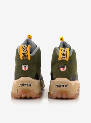 Hnědo-zelené pánské kotníkové kožené boty v semišové úpravě GANT Dandre