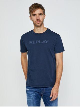 Tričká s krátkym rukávom pre mužov Replay - tmavomodrá