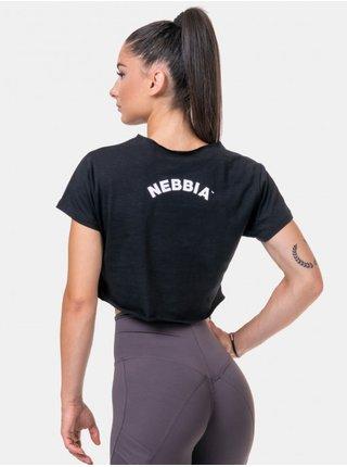 Černý sportovní crop top s potiskem Nebbia