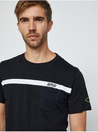 Čierne pánske tričko s potlačou Replay