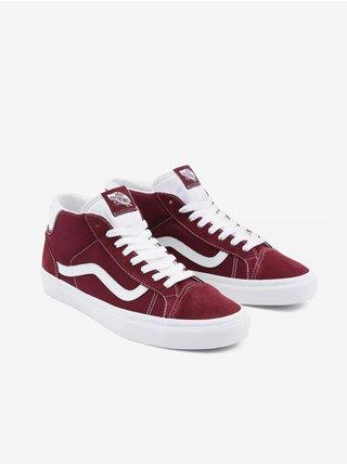 Bílo-vínové pánské semišové boty VANS Mid Skool