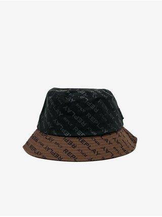 Hnedo-čierny pánsky zvonovitý klobúk s motívom Replay