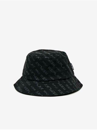 Čierny pánsky zvonovitý klobúk s motívom Replay
