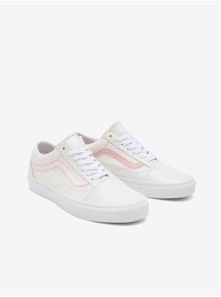 Růžovo-bílé dámské kožené boty VANS Old Skool
