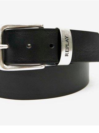 Černý pánský kožený pásek Replay